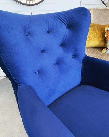 Brayden button back accent armchair in royal blue velvet fabric