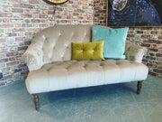 Imogen Chesterfield button back petite 2 seater sofa in taupe velvet fabric RRP £999