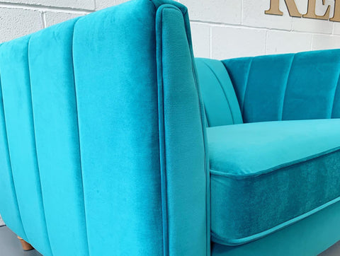 Gisele By Lipsy medium 2 seater art deco style sofa in jade velvet fabric RRP £850