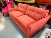 Melody large 4 seater standard button back sofa in mystic pink cotton fabric RRP £1399