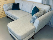 Connection left or right facing 3 seater standard back chaise sofa in grey weave fabric RRP £1355