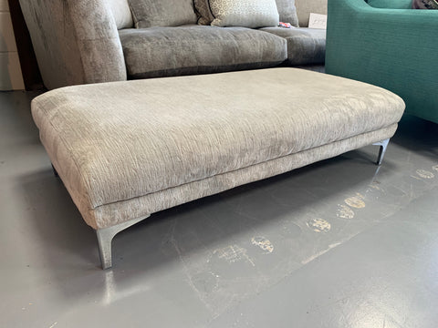 C - Designer Bench Style Long Button Top Footstool In Silver Chenille RRP £499