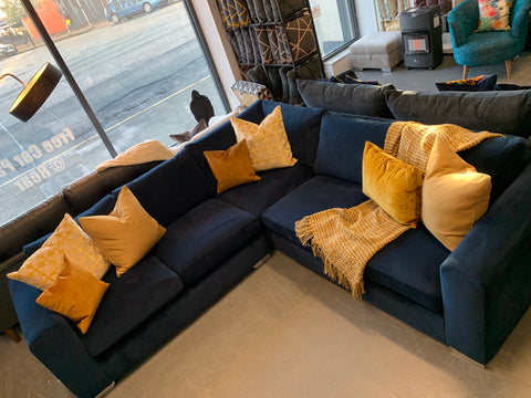 A - Franklin Even Sided Corner Sofa in Royal Blue Velvet Fabric RRP £1969