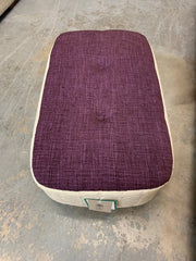 Donegal by OK small footstool in cream stem damask fabric with a purple weave top RRP £229