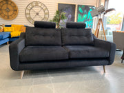 Lisbon large 3 seater sofa in black velvet fabric with removable headrests RRP £1299