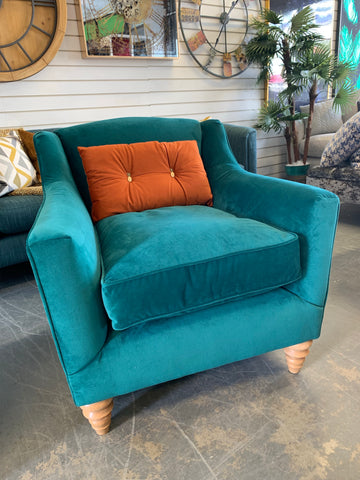 B - John Lewis Melrose Croft Collection Teal Velvet Accent Chair RRP £969