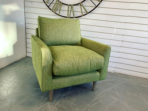 B - Como Accent Armchair In Bright Green Mix Weave Fabric RRP £699