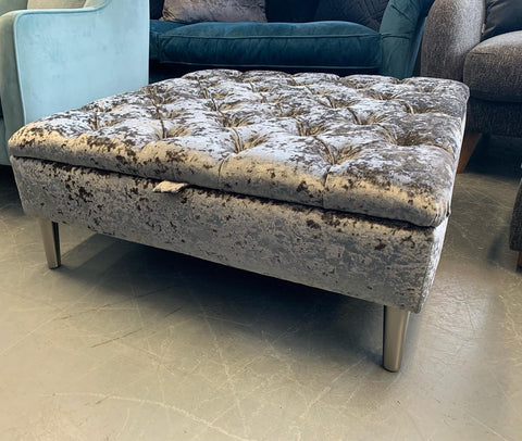 C - Large Square Storage Footstool In Silver Lustrous Crushed Velvet Fabric
