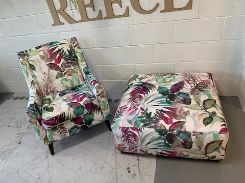 B - Manzoni Armchair & Large Square Footstool In Floral Velvet Fabric
