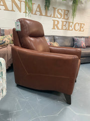 Conker brown leather high back plush accent chair
