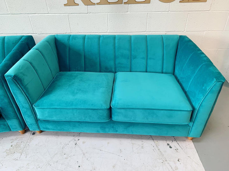 Giselle By Lipsy medium 2 seater art deco style sofa in jade velvet fabric RRP £850