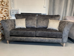 Ava 3 seater standard back sofa in charcoal faux suede fabric with accent cushions