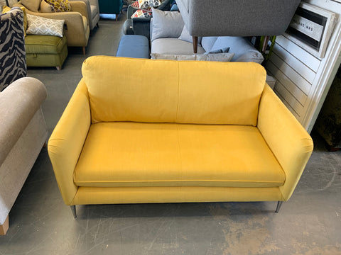 A - Ashley Manor Sunny Yellow Cotton Fabric 2 Brushed Seater Sofa RRP £999
