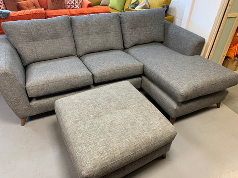 C - Holly Square Footstool in Grey Mix Weave Fabric RRP £329