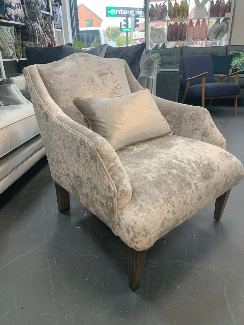 Belvedere accent armchair in luxury champagne / ivory crushed velvet fabric
