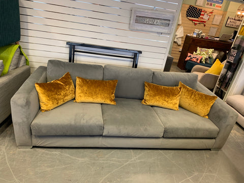 A - Boston XL 4 Seater Silver Grey Velvet Fabric Square Sofa RRP £1359