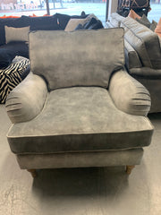 Park Lane standard back low arm armchair in mottled grey velvet fabric RRP £999