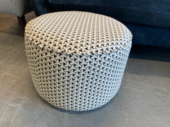 Round tub medium footstool in monochrome geometric print fabric RRP £279