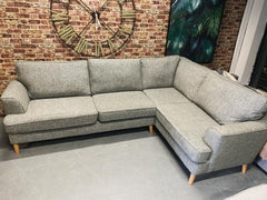 Copenhagen RHF standard back corner sofa in grey weave fabric RRP £1999