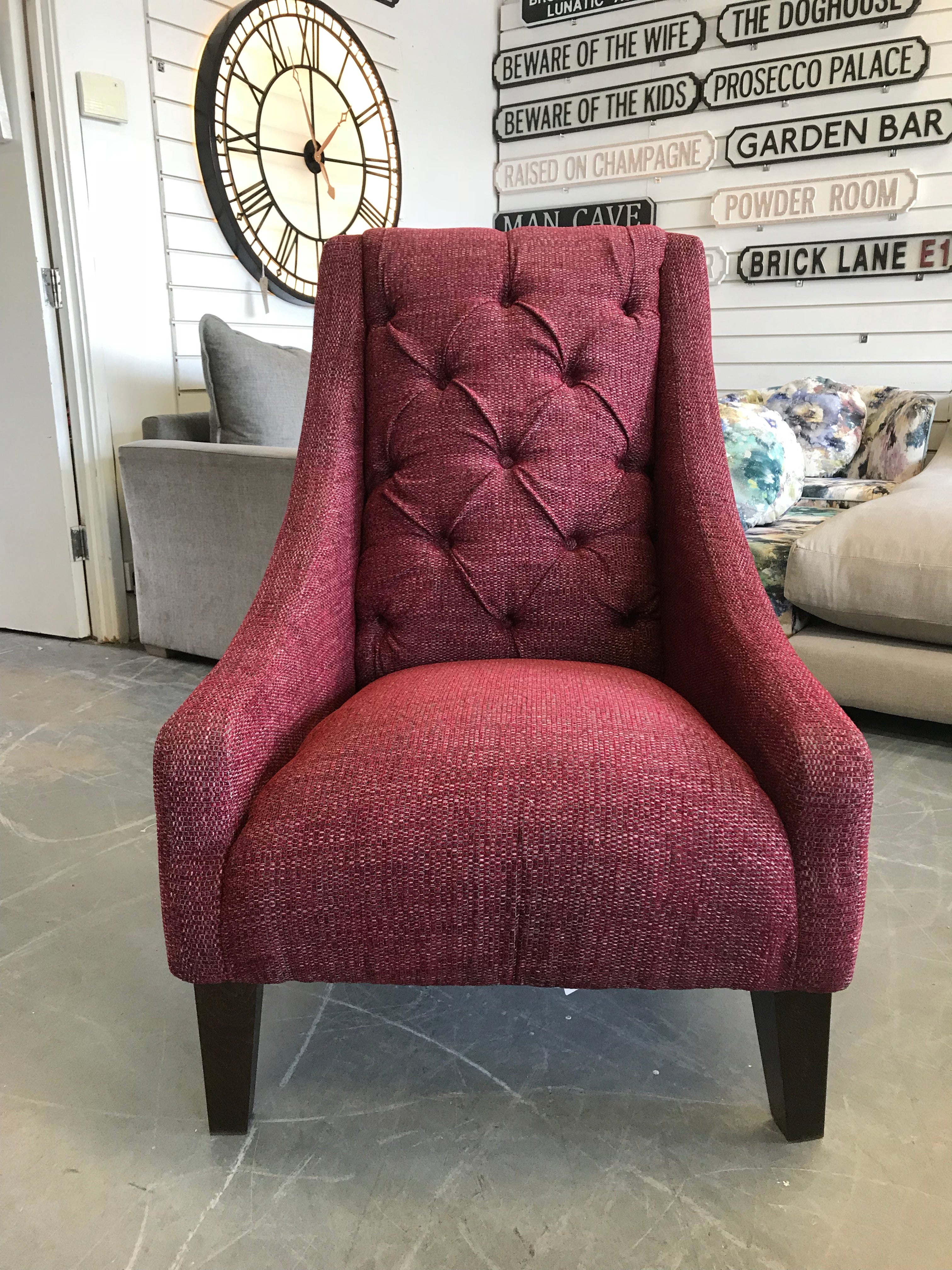 Enjoyable B High Button Back Accent Armchair In Burgundy Red Tweed Fabric Ibusinesslaw Wood Chair Design Ideas Ibusinesslaworg