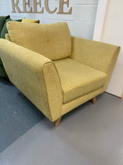 Connection FV large armchair in yellow textured weave fabric
