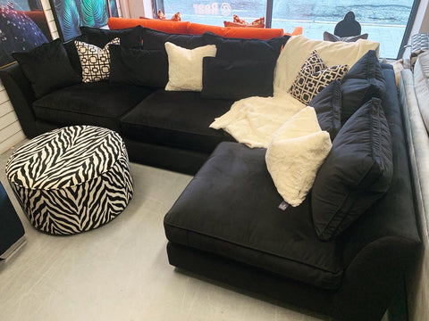 A - Bossanova XL Right Hand Facing Corner Sofa In Black Velvet Fabric RRP £2795