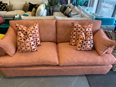 A - A&J Cooper XL Maxi 4 Seater Sofa In Tangerine Orange Linen RRP £1499