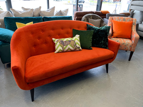 A - Sofas & Stuff Finsbury Button Back 3 Seater Sofa In Orange Velvet Fabric RRP £1299
