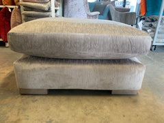 Franklin square cushion top footstool in silver textured chenille fabric RRP £479
