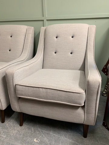 Avenue low arm button detail accent chair in light grey fabric RRP £499