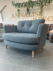 Sutton large curved loveseat in blue mix weave fabric RRP £1009
