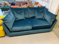 Luca medium 3 seater standard back sofa in petrol velvet fabric RRP £1269