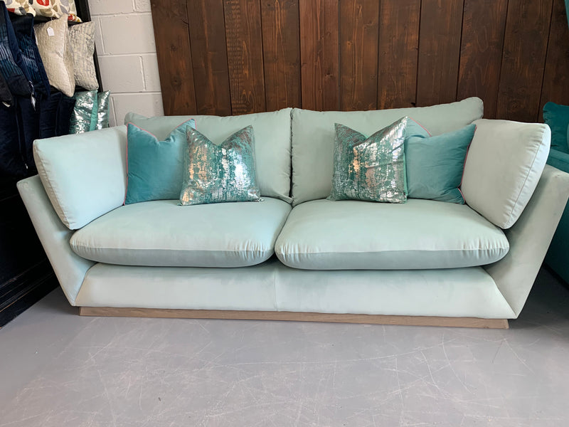 Alto large 3 seater sofa with side bolster cushions in ice blue velvet fabric RRP £2549