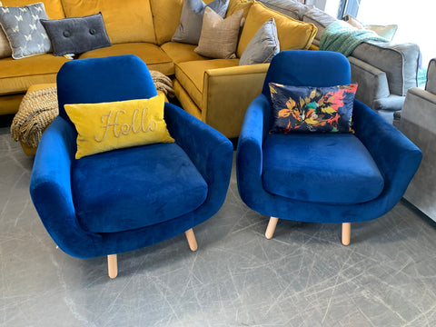 Jonah accent armchair in royal blue velvet fabric RRP £299