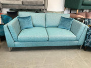 Leon 3 seater sofa in mix teal weave fabric with reversible side cushions RRP £1299