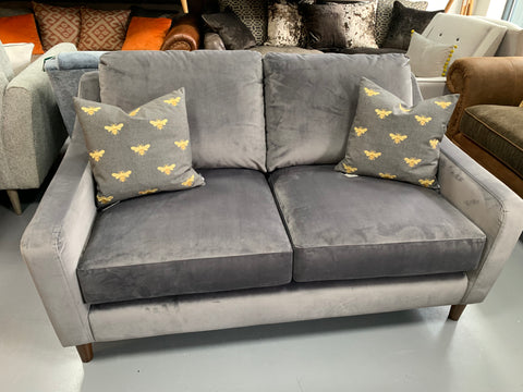 A - HSL Plush Silver Grey Velvet Fabric 2 Seater Sofa RRP £999