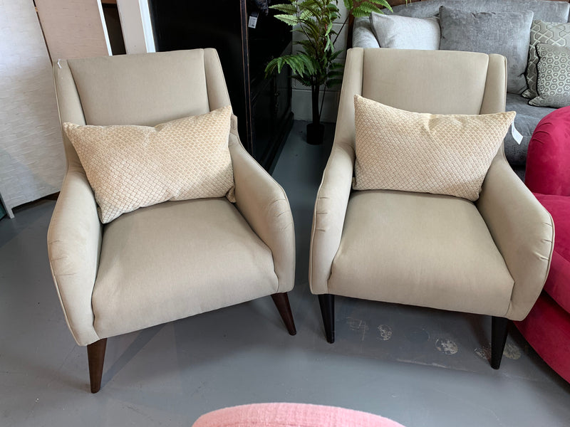 Caprice low arm accent chair in taupe cotton fabric RRP £499