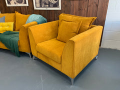 Lolly accent armchair in mustard corded velvet fabric