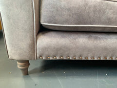 Ava 3 seater standard back sofa in silver faux suede fabric with accent cushions