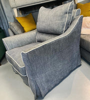 Hacket by Collins & Hayes swivel base armchair with removable covers in charcoal grey fabric RRP £1199