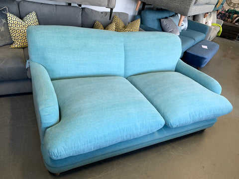 A - Pudding 2 Seater Sofa In Light Blue Washed Cotton Fabric Sofa RRP £1599