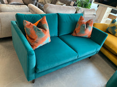 Bakerloo 2 seater standard back sofa in teal velvet fabric RRP £799