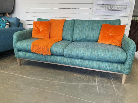 A - Conran Haddon 3 Seater Sofa In Blue Green Teal Weave Fabric RRP £1299