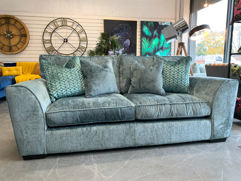 A - Ashley Manor Calvin Teal Chenille 3 Seater Sofa With Cushions RRP £1299