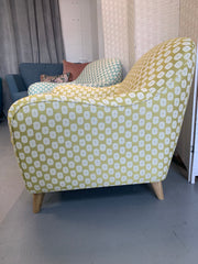 Joplin retro accent chair in mustard circle fabric RRP £529