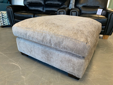 C - Large cushioned Square Footstool In Grey Fabric RRP £499