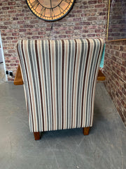 Anderson accent chair with oak arms in stripe fabric RRP £279