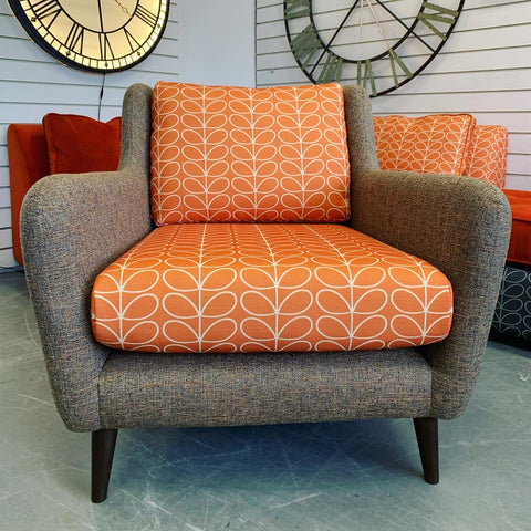 B - Fern Accent Armchair In Orange Stem Flower Print Fabric RRP £899
