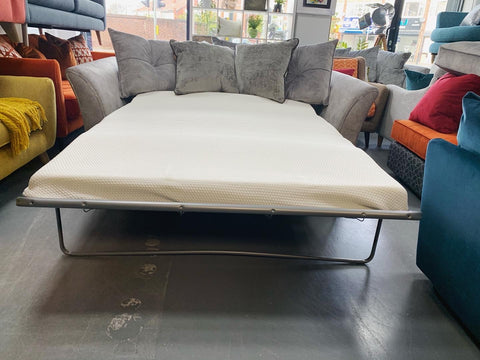 Amora 3 seater standard back sofa bed in silver grey moleskin fabric RRP £1829