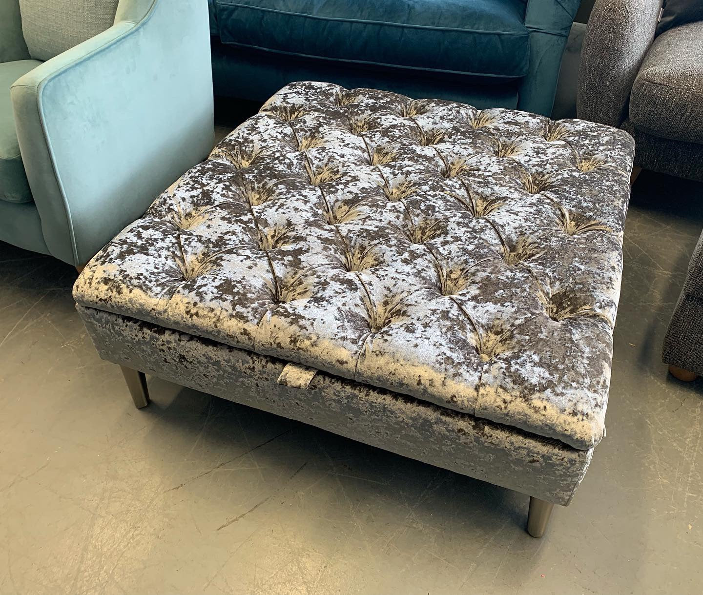 C Large Square Storage Footstool In Silver Lustrous Crushed Velvet Fabric